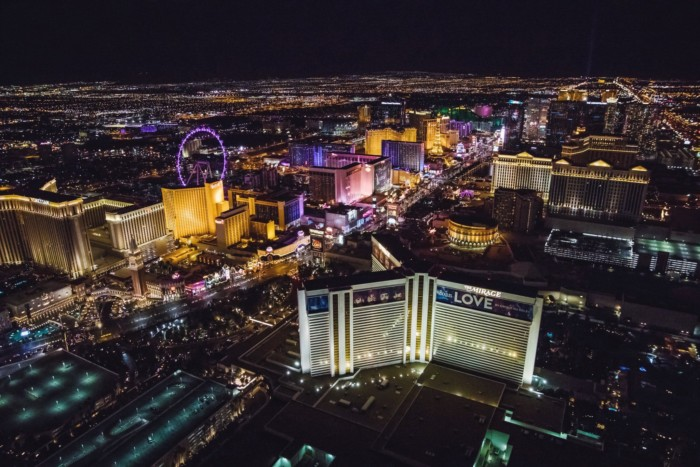Nighttime Aerial | Suites at Mirage Resort & Casino